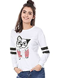 Allegra K Women's Crew Neck Striped Long Sleeves Dog Print Sweatshirt