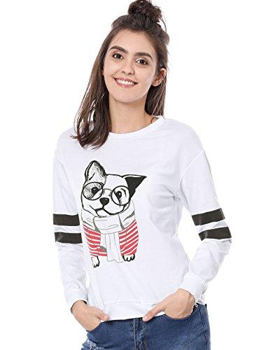 Allegra K Damen Rundhals Streifen Long Ärmel Hundedruck Sweatshirt Shirt, XL (EU 48)/White (Varsity-streifen-pullover)