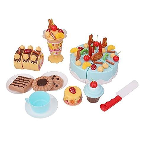 75pcs Gâteau d'anniversaire à Découper Jeu d'imitation de Cuisine Jouet Educatif Cadeau pour Enfants - Bleu, Taille Unique