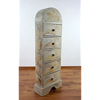 Handmade chest of drawers from Bali with flower ornaments (White)