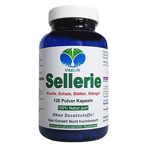 Sellerie 120 Pulver Kapseln Natur pur NICHT hochdosiert KEIN Extrakt OHNE Zusatzstoffe OHNE Füllstoffe....