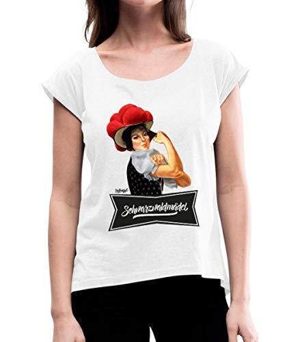 Spreadshirt Schwarzwaldmädel Rosie mit Bollenhut Frauen T-Shirt mit gerollten Ärmeln, L (40), Weiß