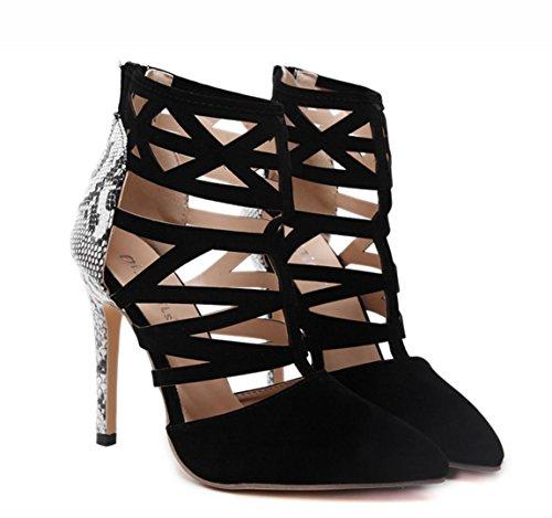 Wzg Mulher Verão Ocas Sapatos De Salto Alto Senhoras Salto Fino Sandálias Sandálias Aumentando Preto