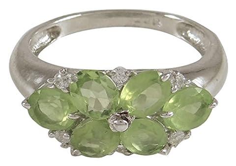Banithani 925 Sterling Silver New Indian Fashion Elegant Peridot Stone Band Ring Jewellery