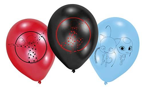 amscan 9902881 Miraculous - Globos de látex (6 Unidades), Color Azul, Rojo y Negro