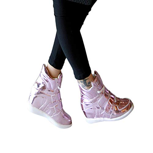 MYMYG Damen Stiefel Lackleder Keile Schuhe Plateauschuhe High-Top Lace Up Sneakers Stylische Schnalle Walkingschuhe Freizeitschuhe...