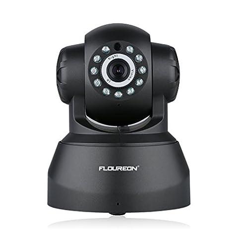 FLOUREON Caméra IP sans Fil 720p PT Carte SD Audio Bidirectionnel Détection de Mouvement Vision Nocturne Caméra de Surveillance Wifi Onvif Vision à Distance IOS Android Microphone Intégré Noir