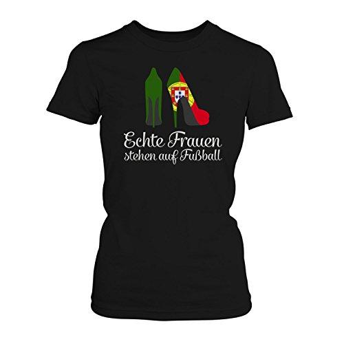 Fashionalarm Damen T-Shirt - Echte Frauen Stehen auf Fußball | 2018 Fan Shirt Trikot mit Portugal Flagge für Weltmeisterschaft WM, Farbe:Schwarz;Größe:3XL