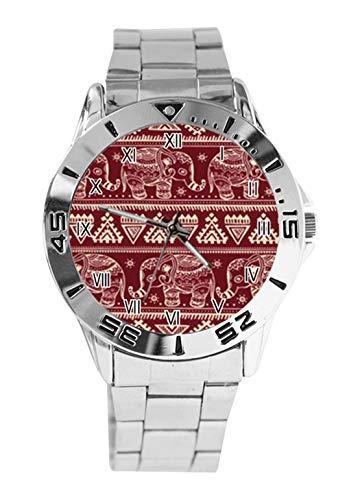 Reloj analógico de Cuarzo con diseño de Elefantes Aztecas Rojos Oscuros de...