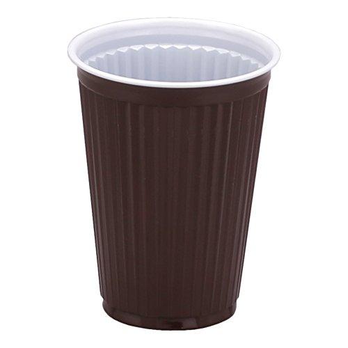 Wertpack 3000x Kaffeebecher für Automaten, PS, Braun/Weiß, geriffelten Oberfläche, 180 ml