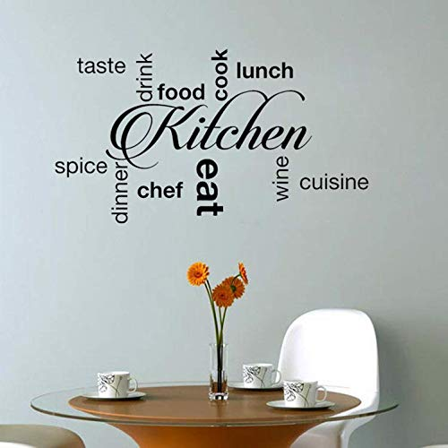 YUTAO Wall Sticker 63 * 35 Cm Küche Wörter Geschmack Trinken Essen Kochen Essen Abendessen Wein Kunst Dekor Pvc Wandaufkleber (Folie Abendessen)
