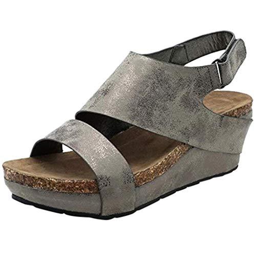 Alaso Chaussures Femme Sandali compensati da donna con plateau e punta aperta, stile bohémien, con zeppa, tacco 5 cm, sandali da città, nero, marrone, grigio, 35-43 EU grigio 43