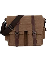 a377220e4c BAOSHA MS-06 Vintage Military Men s Canvas Leather Messenger Bag Casual  Cross Body Travel Shoulder
