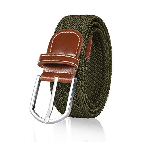 ITIEZY Unisex Flechtgürtel Elastischer Stoffgürtel Stretchgürtel Waistband mit Metallschnalle  Länge: 105cm (41.33 Farbe Armeegrün