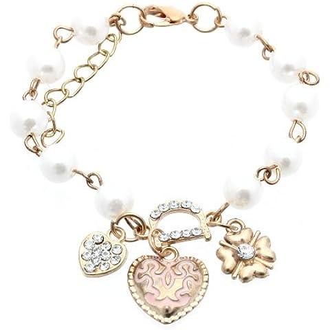 Donna Bracciale Braccialetto Oro in Perle Strass Ciondoli Cuore Fiore Nuovo