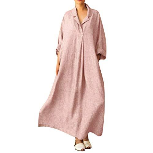 WWricotta Women Plus Size Long Sleeve Cross V Neck Maxi Dress Full Length Shirt Line Dress(Rosa,XXXXXL)