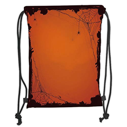Icndpshorts Spider Web,Grunge Halloween Composition Scary Framework with Insects Abstract Cobweb,Orange Brown Soft Satin,5 Liter Capacity,Adjustable String Closure,Th