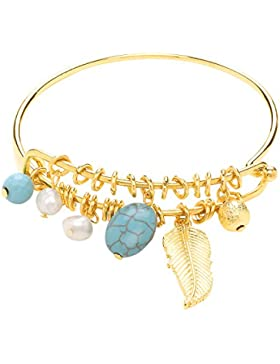 Front Row Gold Colour Leaf and Turquoise Colour Bead Charms Adjustable Bangle