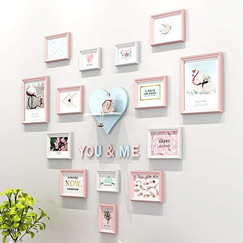 Cs-lj instagram fai da te photo wall a forma di cuore, protezione ambientale in legno massello creative background wall (14pc) (colore : a)
