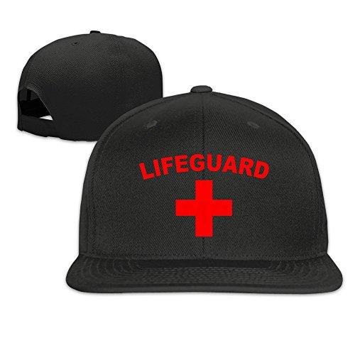 Hittings Life Guard And Lifeguard Logo Snapback Hats Flat Brim Baseball Cap Black -