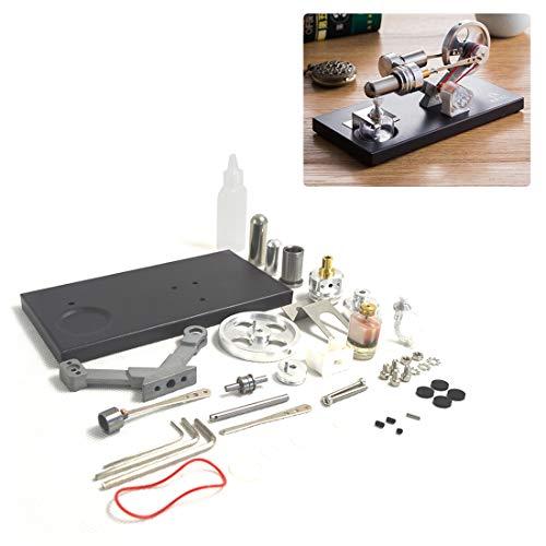 TETAKE Stirlingmotor Selbst Bauen Bausatz mit Generator und 4tlg Bunt LED für Technikinteressierte Bastler