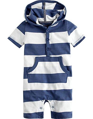 Vaenait Baby Neugeborene Saugling Baby Kurzarm One Piece Romper Hoodie Stripe Blue 12-18M (Stripe Piece One)