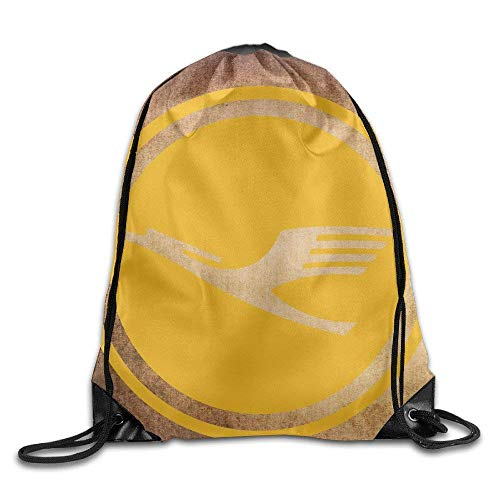 GONIESA Fashion Unisex Gym Bag Golden Lufthansa Logo Tote Bags Drawistring Pouch Travel Sport Bag for Adult Men Women Girl Boy Backpack -