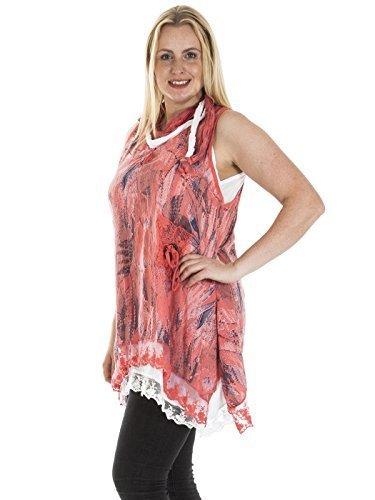 Love My Fashions Damen 3 Stück Italienischer Lagenlook Abstrakter Aufdruck Kleider Übergröße Koralle