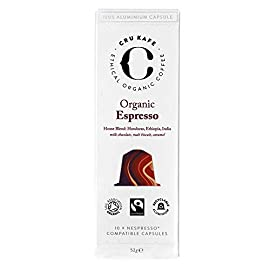 CRU Kafe Organic Coffee Capsules | Nespresso Compatible Coffee Pods | Espresso Blend | Strength 9 | Punchy & Powerful | Organic, Fairtrade & 100% Recyclable Coffee Capsules – 60 Pods