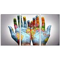 Arte de la Pared, Pintura de la decoración de la Tierra en la Mano Triple Pintura al óleo Imagen de la Pared Mano Hermosa y Mapa decoración de la Fiesta en ...