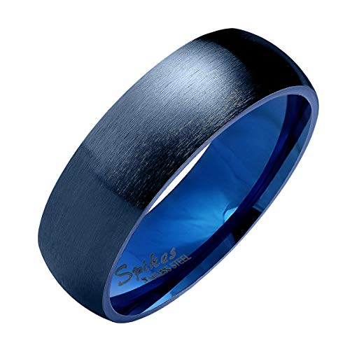 Piersando Band Ring Edelstahl Matt Gebürstet Bandring Ehering Partnerring Trauring Verlobungsring Damen Herren Blau Größe 55 (17.5) Breit 6mm