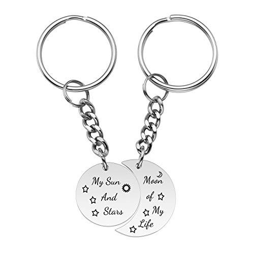 Jovivi Schlüsselanhänger für Paare, personalisierbar, für Sie und Ihn, Edelstahl, Mond of My Life My Sun and Stars Lover Puzzle, 2 Stück, Non-Engraving (Silber) - TTUK4947 -