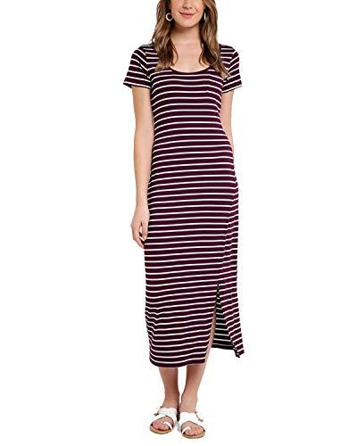 VONDA Damen Kleid Mit Ärmel Lange Sommerkleid Elegant Cocktail Ballkleid Weinrot03 M Langen Ärmeln Kleid