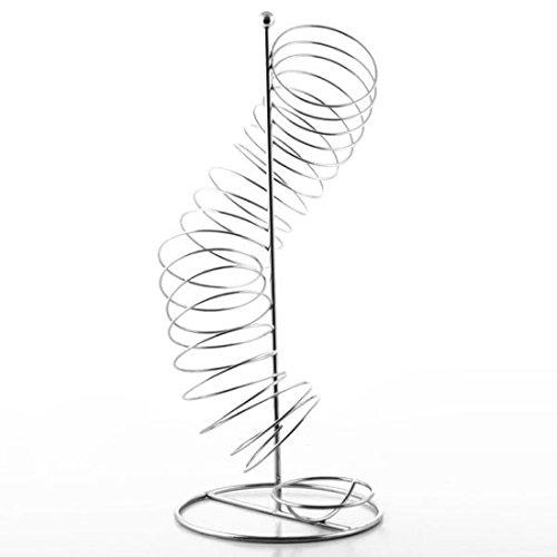 Unbekannt Designer Röhren OBSTKORB/OBSTSCHALE Metall VERCHROMT Silber in Spiral Form, 47 cm Höhe, Ideal für Orangen, Äpfel, Etc