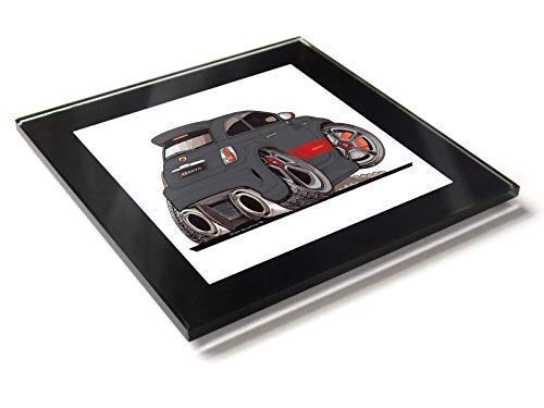 Koolart Cartoon Auto Fiat 500 Abarth Glastisch Untersetzer mit Geschenkverpackung - Schwarz & Rot, 10cm x 10cm -