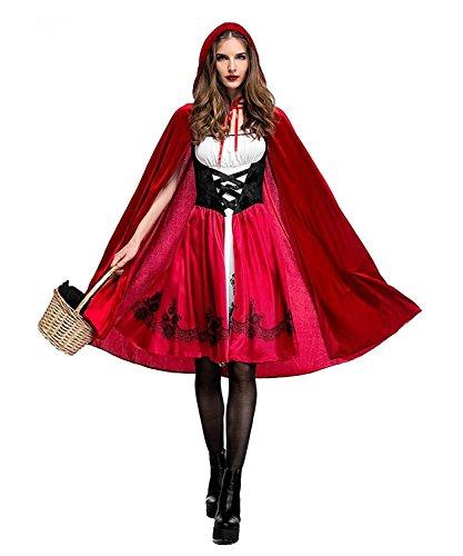 Disfraz Caperucita Roja Gótico Mujer Vestido de Fiesta para Halloween Carnaval Actuación con Capa de LaLaAreal ( Large )