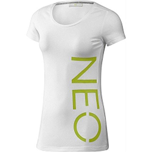 Adidas NEO Logo Tee T-Shirt Damen Baumwolle Freizeit weiß/neon G82642 (withe/intenlime, L)