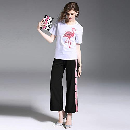 QUNLIANYI Abikleider Lang Women Sets Pink Crane Printed Stickerei T-Shirts Wide Leg Pants Short Sleeve T-Shirt Hosen Casual Suits M (Leg Pants Wide Printed)