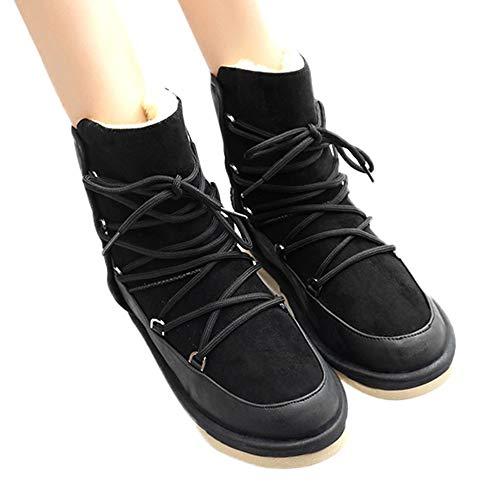 TianWlio Stiefel Frauen Herbst Winter Schuhe Stiefeletten Boots Dicke Ferse Stiefeletten Weibliche Rundkopf Reißverschluss Absatzstiefel Wildleder Baumwolle Schuh Schwarz 39