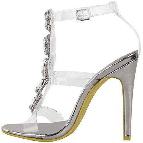 Fashion Thirsty heelberry Nuovo da Donna Perspex Tacco Alto Gioielli Sandali Tacchi a Spillo Scarpe con Cinturino Taglia Argento metallizzato