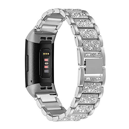 Shangpule Bling Bands kompatibel mit Fitbit Charge 3, Ersatzarmband mit Strass Armband, Armband Zubehör für Charge 3 SE Frauen Mann groß klein