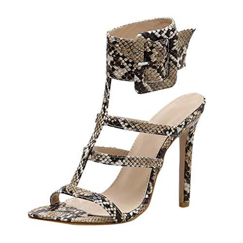 Dorical Sandalen & Sandaletten Sommer Damenschuhe 11cm High Heel Stiletto Schlange Sandaletten mit Schnalle Peep Toe Sexy Hochzeit Party Freizeit Schuhe(Beige,40 EU)