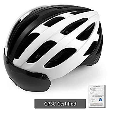 Shinmax Cycle Helmet with Light,CE Certified,Detachable Magnetic Goggles for Men&Women for Road from Shinmax
