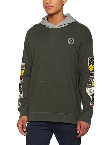 JACK & JONES Herren Kapuzenpullover Jorbadge Sweat Hood Grün (Thyme Fit:BOX FIT Hood)