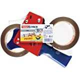 tesapack Packband-Abroller / Handabroller für Paketband / 2 x reißfestes Klebeband extra stark in Braun / 660 cm x 50 mm