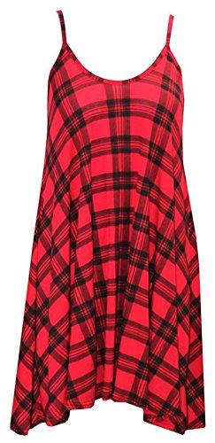 Janisramone Frauen schwingen schlicht Cami Mini Sommerkleid lang oben plus Größe Weste Tartan Rot