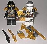 Lego Ninjago Figuren Weisser Ninja Zane und Schwarzer Ninja Cole und Waffen und bmg2000 Aufkleber