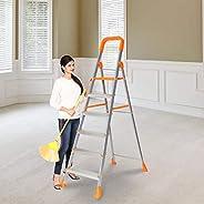 Happer Premium Foldable Aluminium Step Ladder, Clamber Pro, 6 Steps (Orange & Sa