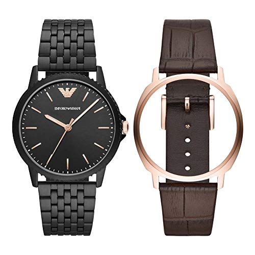 Emporio Armani Herren Analog Quarz Uhr mit Edelstahl Armband AR80021