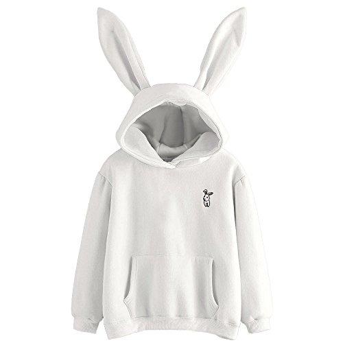 Kapuzenpullover Damen LUVERSCO Frauen Mit Langen äRmel Kaninchen Kapuzenpulli Sweatshirt Pullover Bluse (L) (Champion Hund Kleidung)